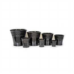 Moorish Planter Black Ceramic Pot 24cm x 24cm