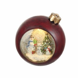Christmas Snowglobe With Light Up Snowmen - Battery Operated