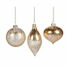 Christmas Glass Clear and Gold Crush Ornament with Hanger 8cm