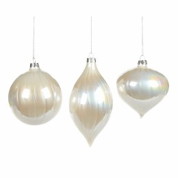 Christmas Glass Iridescent Pearl White Ornament with Hanger 10cm