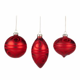 Christmas Glass Flocked Swirl Red Ornament with Hanger 8cm