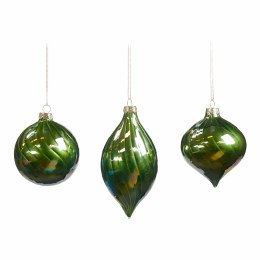 Christmas Glass Iridescent Swirl Ornament Green with Hanger 8cm