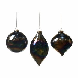 Christmas Glass Iridescent Black Oil Rainbow Ornament with Hanger 8cm