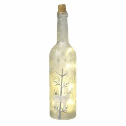Christmas Glass Bottle Frosted With LED Lights Battery Operated 30cm