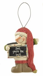 Christmas Decoration Snowman With Sign 'Dad You're The Best' 5x7.5cm