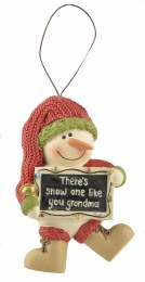 Christmas Decoration Snowman With Sign 'There's Snow One Like You Grandma' 5x7.5cm