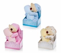 Christmas Plush Bear with Blanket Cream Blue Pink 26cm