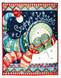 "Christmas Luxury Fleece Throw ""Snow Kisses"" Multi 1.6x1.3m"