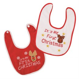 Baby's First Christmas Bib Red or White