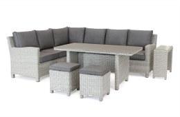 Palma Corner Set With Taupe Cushions & Side Table - White Wash Weave