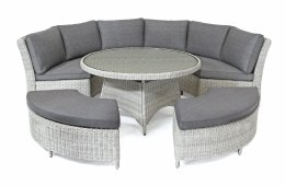 Palma Round Set With Taupe Cushions - White Wash Weave