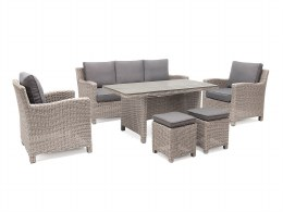 Palma Sofa Set With White Wash Weave and Taupe Cushions