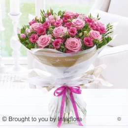 Pink Lisianthus Rose Hand-Tied
