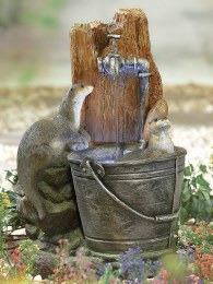Playful Otters Water Feature With LED Lights