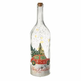 Christmas Glass Bottle with Car &  'Merry Christmas' 12x45.5cm Battery Operated