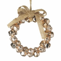 Christmas Hanging Copper Bell Wreath with Hessian Bow 11cm