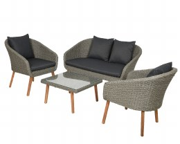 Rattan Weave Geneva Sofa Set With Coffee Table - Seats 4