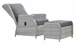 Rattan Weave Recliner with Foot Stool