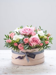 Rose Blush New Baby Hatbox with Bramble Bear
