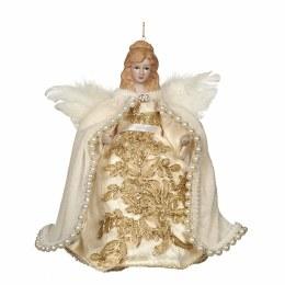 Christmas Tree Topper Porcelain Angel Gold 20cm