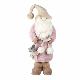 Christmas Plush Santa in Rose Pink Fur With Hat 24x19x65cm