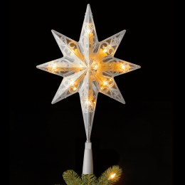 "11"" Bethlehem Star Tree Topper with 10 Warm White LED Lights Battery Operated"
