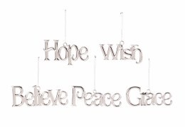 Christmas Sign Believe Hope  Wish  Peace or Grace