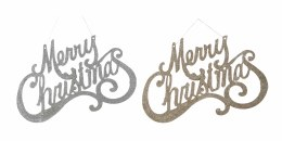 Christmas Sign Gold or Silver Merry Christmas with Ribbon Hanger 35cm