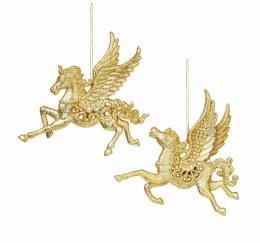 Christmas Decoration Gold Glitter Pegasus 12cm