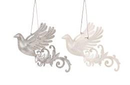 Chrismas Decoration Silver White Glitter Bird 14cm