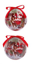 Christmas Bauble Santa with Deer Scene 7.5cm