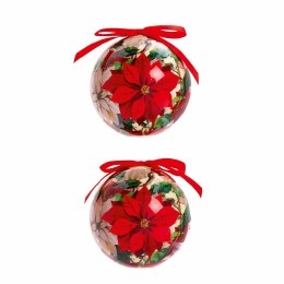 Christmas Bauble Poinsettia Decoupage Ball 7.5cm