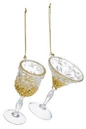 Chrismas Decoration Wine Glass With Gold Glitter 10cm