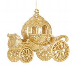 Christmas Decoration Cinderella's Carriage Gold Glitter 12cm