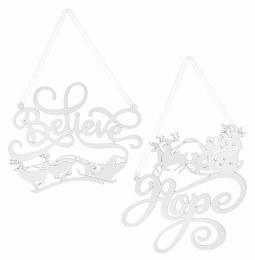 Christmas Sign White Gllitter Sleigh  'Believe' or 'Hope' 18cm