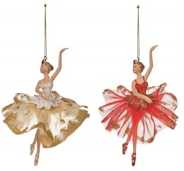 Christmas Decoration Ballerina in Gold or Red Dress with Hanger 18cm