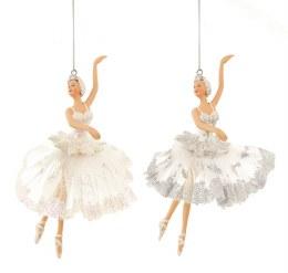 Christmas Decoration Ballerina in White Dress with hanger 18cm
