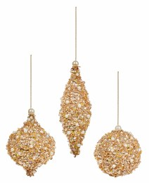 Christmas Bauble Gold Glitter with Sequins 8cm