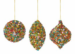 Christmas Bauble Multi Coloured Glitter and Sequins 8cm