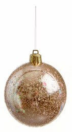 Christmas Bauble Rose Gold with Glitter 8cm
