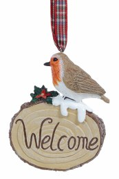 Christmas Woodland Log Decoration with Robin 9cm