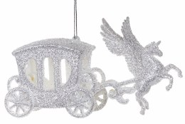 Christmas Decoration with White Glitter Unicorn 9x15cm