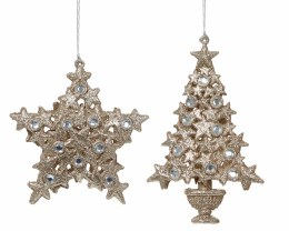 Christmas Champagne Gold Hanging Decoration with Glitter 13cm