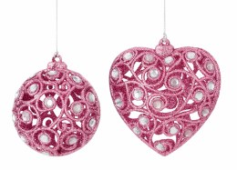 Christmas Bauble Rose Pink with Pearls and Glitter 8cm