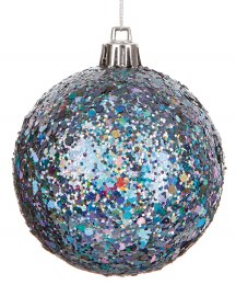 Christmas Bauble Graphite with Glitter 8cm