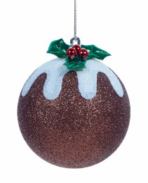 Christmas Bauble Christmas Pudding with Glitter 8cm