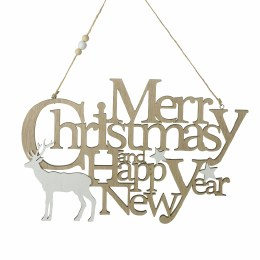 Christmas Sign With Deer 'Merry Christmas & Happy New year' 30c19cm