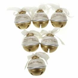 Christmas Bauble Ceramic White & Gold Hanging Bells 8cm