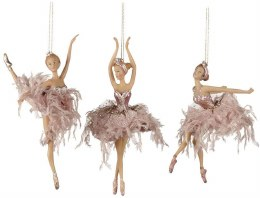 Christmas Decoration Ballerina Fluffly Skirt Pink 19cm