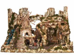 Christmas Nativity Crib Empty with Fountain & Fire Light & Windmill - Extra Large 118x70x73cm